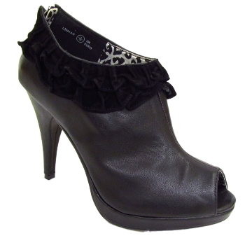 LADIES BLACK RUFFLE PLATFORM WOMENS PEEP-TOE ZIP STILETTO ANKLE BOOTS SIZES 3-8 Preview